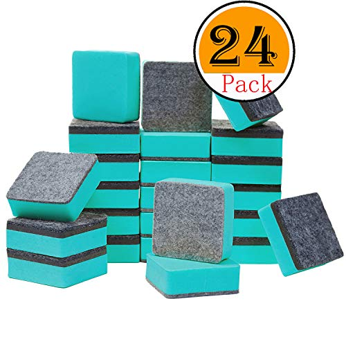 officematters Cute Magnetic Chalkboard Whiteboard Dry Erasers Cleaner. Pack of 24 (24Pcs - Green)