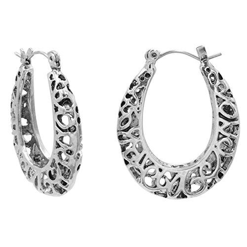 - Simple Silver Tone Hoop Earrings (Filigree Oval)