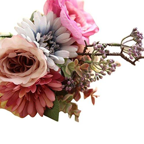 Vovotrade A Bunch Artificial Fake Flowers Floral Wedding Bouquet Party Home Decor (Pink) (Home Decor Near Me)