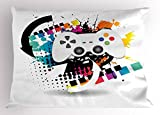 Lunarable Gamer Pillow Sham, Modern Console Game Comtroller with Halftone Motif and Color Splashes Background, Decorative Standard Queen Size Printed Pillowcase, 30 X 20 Inches, Multicolor