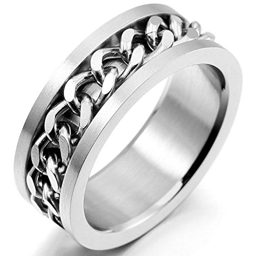 [Epinki,Fashion Jewelry Men's Stainless Steel Rings Band Silver Chain Wedding Size 6] (Sauron Costumes)