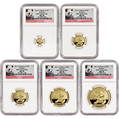 CN 2016 China Gold Panda 5-pc. Year Set First Releases Panda Label MS70 -