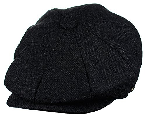 Epoch Men's Classic 8 Panel Wool Blend newsboy Snap Brim Collection Hat (2317-black, Large)