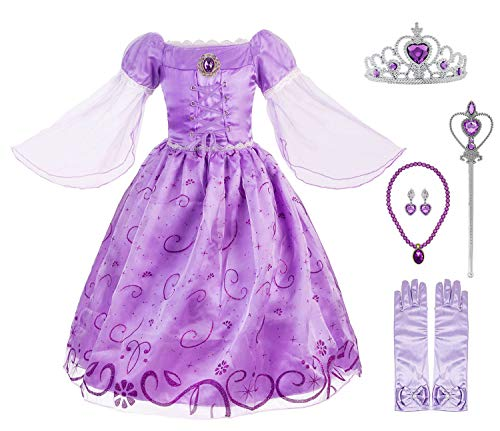 Okidokiyo Little Girls Princess Rapunzel Costume Mesh Sleeve Party Dress (Purple with Accessories, 5)