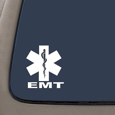 CMI NI510 EMT Medical Emblem Vinyl Decal | 5.5-Inches | Premium Quality White Vinyl Decal: Automotive