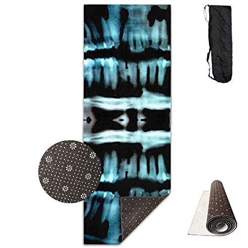 Halloween Spooky Skeleton Teeth,Extra,Thick High Density Exercise Yoga Mat with A Yoga Bag for Exercise,Yoga and Pilates. Waterproof Yoga Mats -