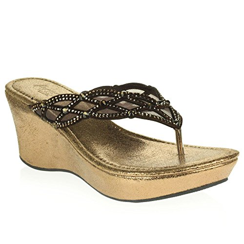 Wedge Sandals Women LONDON Size Slip Ladies Lightweight Crystal Low Brown Heel On Casual Comfort Diamante AARZ Shoes fvOqn1O