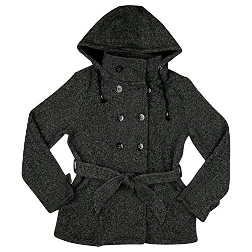 Sebby Womens Double Breasted Belted Fleece Pea Coat Small Tweed Belted Tweed Coat