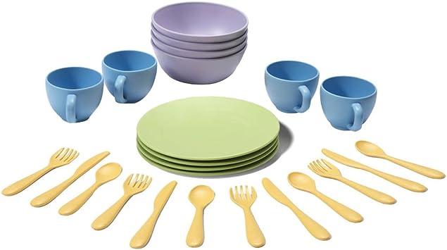 Green Toys - Set de platos, vasos y cubiertos (DSH01R): Green ...