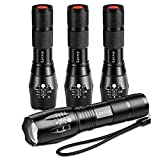 LETMY Tactical Flashlight [4 PACK] - High Lumens, Zoomable, 5 Modes, Waterproof Handheld LED Torch Flashlight - Best Camping, Hiking, Emergency, Everyday Flashlights