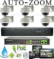 USG Sony DSP High Definition 6 Camera Motorized Lens 1080P PoE IP CCTV Kit 1x 8 Channel NVR + 6x 1080P Motorized 2.8-12mm Lens PoE IP Dome + Bracket Cameras + 1x 10 Port PoE Gigabit Switch