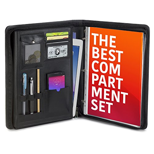 A Multifunctional Folder for Business Men Or Women//Teacher Gift Plinrise Smooth Zippered PU Leather Portfolio with Loose-Leaf Binder