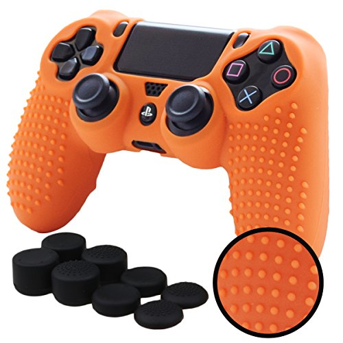 PS4 Controller Grips,Pandaren Studded Anti-Slip Silicone Cover Skin Set Compatible for PS4 /Slim/PRO Controller(Orange Controller Skin x 1 + FPS PRO Thumb Grips x 8)