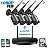 1080P Wireless HD Security Camera System 4 CH NVR Best Home Surveillance System,UBaymax Weatherproof Night Vision Kit 4 Cameras With 1TB Hard Drive For Indoor Outdoor (Black)
