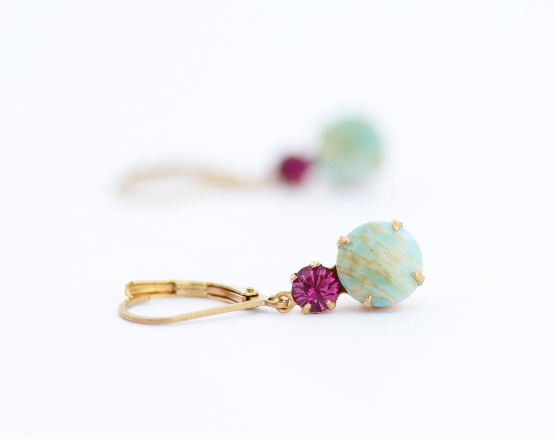 Aqua and Pink Vintage Jewel Drop Earrings