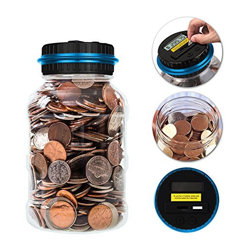 Winnsty Digital Coin Bank, 2.5L Coin Piggy Bank Counter LCD Counting Coin Money Bank Toys Gifts for Kids Children