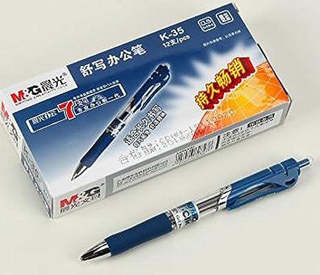 Blue black 12 pcs M/&G K-35 0.5mm Roller Gel Pen Retractable Smooth Writing
