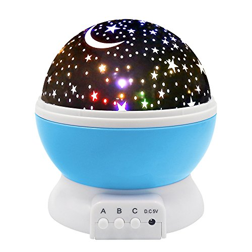 Price comparison product image Digital Ant Night Lighting Lamp, Star Light Rotating Projector, Moon Sky Night Light, 4 LED Bulbs 8 Modes for Children Kids Bedroom (Blue)