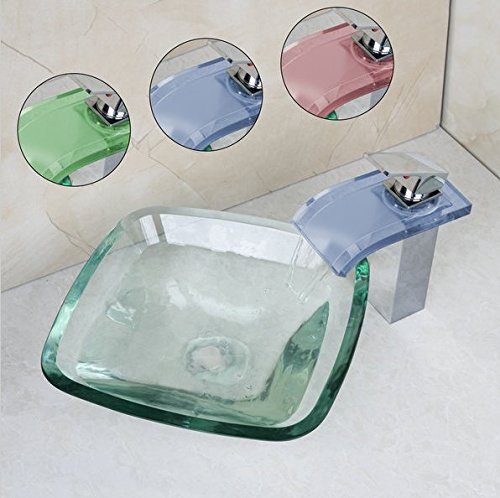 GOWE Square Glass Wash Basin Vessel Sink With Chrome Bathroom LED Faucet Glass Sink Set 2