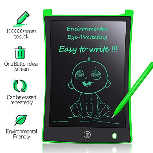 MYMAHDI LCD Writing Tablet, 8.5 inch Doodle Board, Electronic Drawing & Writing Board, with Smart Writing Stylus for Kids Gifts, School,Office, Fridge or Family Memo, Green