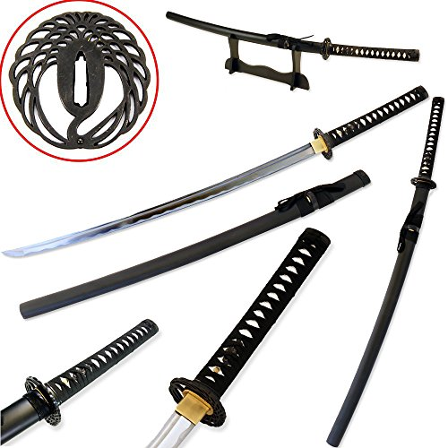 Traditional Japanese Handmade Sharp Katana Samurai Sword with Scabbard and Sword Stand (Crane Tsuba)