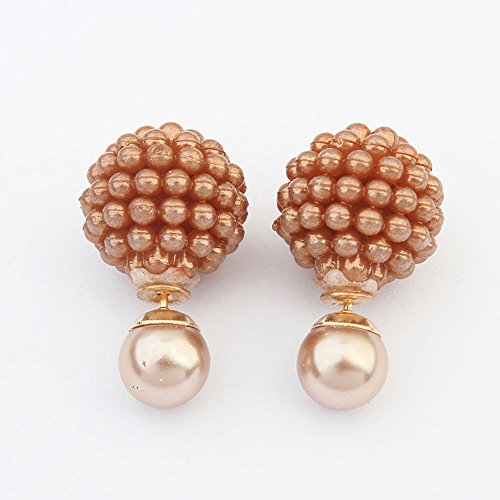 Pearl Brown Imitation (Toonol Double Side Imitation Pearl Fashion Earring Trendy Cute Charm Pearl Statement Ball Stud Earrings for Women Color Brown)