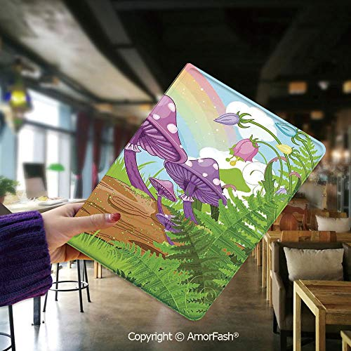Flip Folio Stand Case Cover for Samsung Galaxy Tab E 9.6 SM-T560,Mushroom Decor,Fantastic Scenery with Wood Timber on The Grass and Rainbow Fungus Herbs Leaves Weed - 8 Clear Tabs Fungus