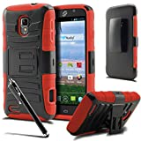 ZTE Rapido LTE Case, [The BlueJay Brand] Rugged Holster Case with Kickstand and Belt Swivel Clip For ZTE Rapido LTE Z932 (Straight Talk) + BlueJay Universal Stylus Pen, Red