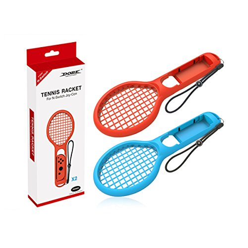 Finera Tennis Racket Compatible with Nintendo Switch, Twin Pack Tennis Racket Compatible with N-Switch Joy-Con Controllers Compatible with Mario Tennis Aces Games (Blue and Red)