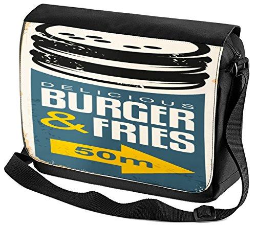 Umhänge Schulter Tasche Nostalgie Fun Hamburger bedruckt