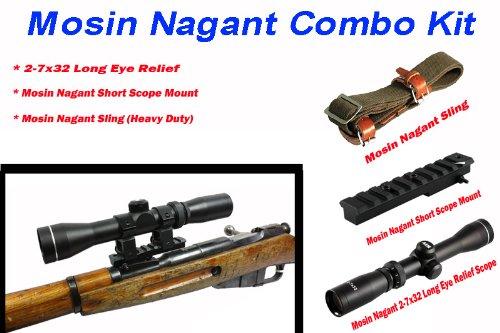 Mosin Nagant Scope 2-7x32 Long Eye Relief w/Short Scope Mount & Mosin Nagant Sling for M91/30, M44, M39 M38 Rifle & Chinese 53 w/Lifetime Warranty