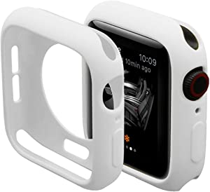 Hontao Ultra Thin Soft TPU Shockproof Built in Bumper Protector for iWatch Case 38mm 40mm 42mm 44mm Series 3/2/1 White 42mm