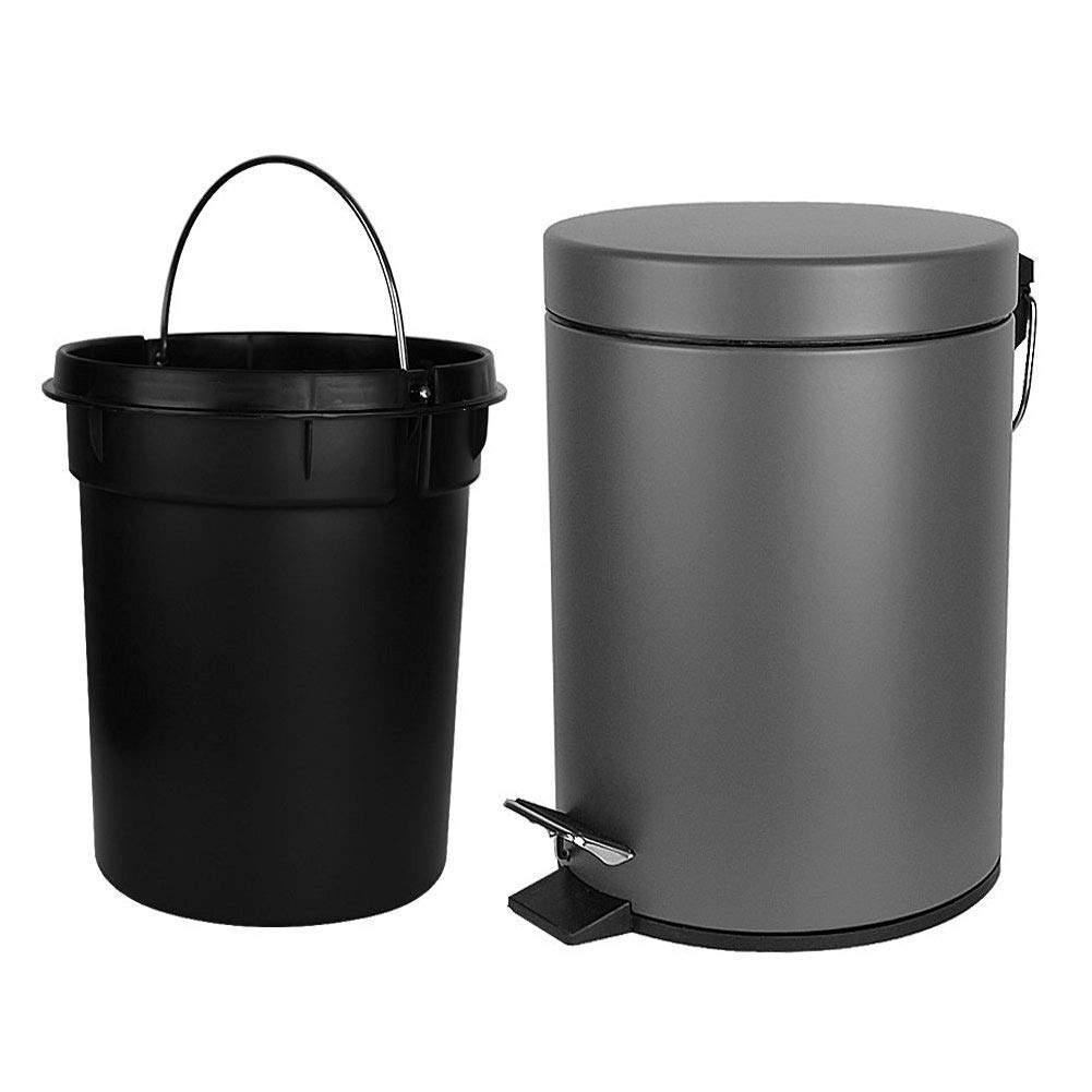 H+LUX Round Mini Trash Can with Lid Soft Close, Bathroom Trash Can with Removable Inner Wastebasket and Stainless Steel Foot Pedal, Anti-Fingerprint Matt Finish, 0.8Gal/3L, Gray