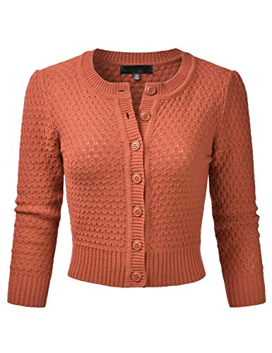 EIMIN Women's Crewneck Button Down 3/4 Sleeve Knit Crop Cardigan Sweater DUSTYORANGE XL