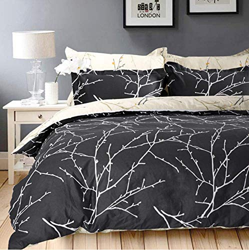 VM VOUGEMARKET Branch Duvet Cover Set Queen,Charcoal Gray with Leaves Tree Pattern,100% Cotton Reversible Bedding Set (Queen,Style 6)