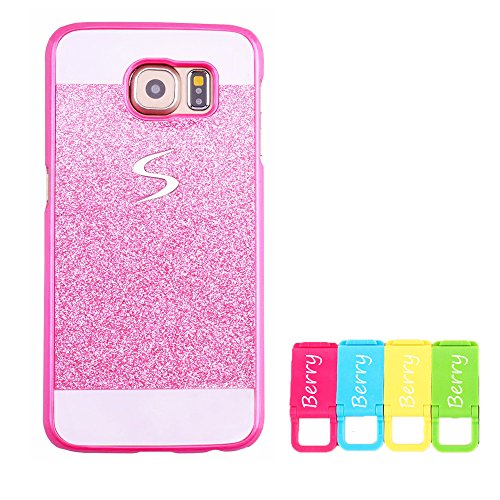 Bling Phone Covers - Galaxy Note 5 Case, Berry Accessory(TM) Beauty Luxury Diamond Hybrid Glitter Bling Hard Shiny Sparkling with Crystal Rhinestone Cover Case for Samsung Galaxy Note 5 + Berry logo stand holder (Pink)