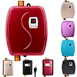 Electric Tankless Hot Water Heater, 110V 3000W Mini Tankless Instant Hot Water System with Leakage Protection and LCD Digital Display,Fast Getting Hot Water in 3 Seconds for Bathroom Kitchen Washing
