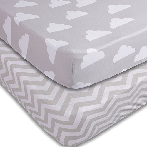 Playard Sheets, 2 Pack Clouds/Chevron Fitted Soft Jersey Cotton Playpen Bedding by Jomolly (Image #6)