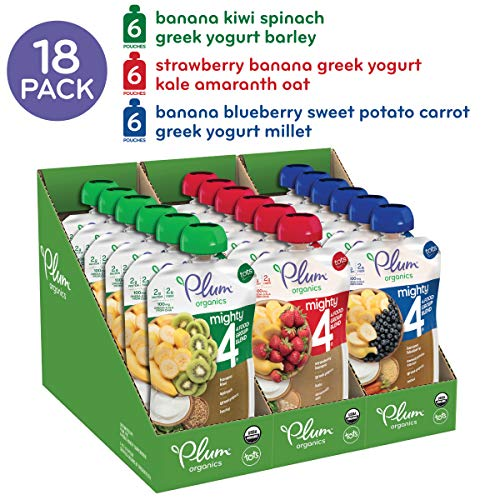 515qzjTK6DL - Plum Organics Mighty 4, Organic Toddler Food, Variety Pack, 4 Ounce (Pack Of 18)