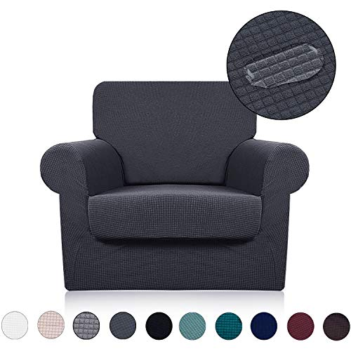 Chair Cover with Separate Seat Cushion Cover(2 Pieces Set) - Water Repellent,Knitted Jacquard,High Stretch - Living Room Couch Slipcover/Protector/Shield for Dog Cat Pets(1 Seater Sofa,Dark Grey) (Best Material For Furniture)