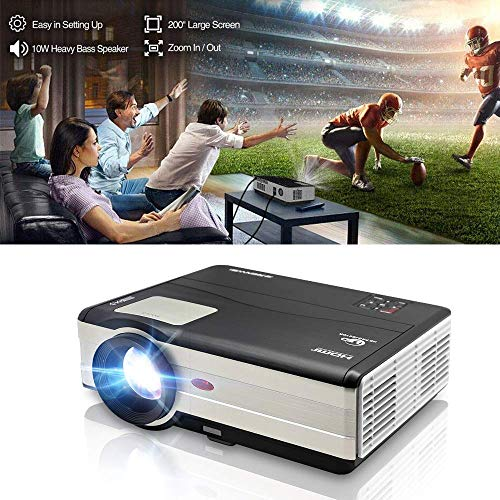 HD Video Projector 3500 Lumens 1080P Movie Gaming Projector LCD LED Multimedia HDMI USB TV AV VGA Audio for Laptop PC Smartphone DVD PS4 Xbox Wii Home Theater Outdoor Party with 10W Speaker