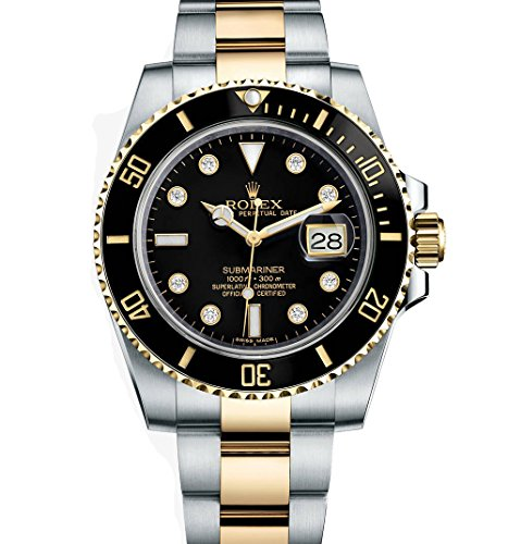 Rolex Submariner Stainless Steel Yellow Gold Watch Diamond Dial 116613 (Rolex Sky Dweller Rose Gold Leather Chocolate Dial)