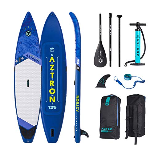 """Aztron Neptune Inflatable Stand up Paddle Board Touring 12'6"""" Double Chamber & Layer with Adjustable Aluminum Paddle and"""