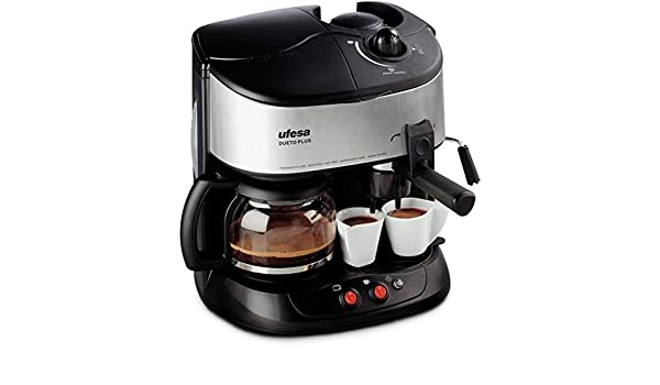 Ufesa CK7351 Dueto Plus, Negro, Plata, 1500 W, 220-240 V, 220-240 V, 50 Hz, 260 x 340 x 340 mm - Máquina de café: Amazon.es: Hogar