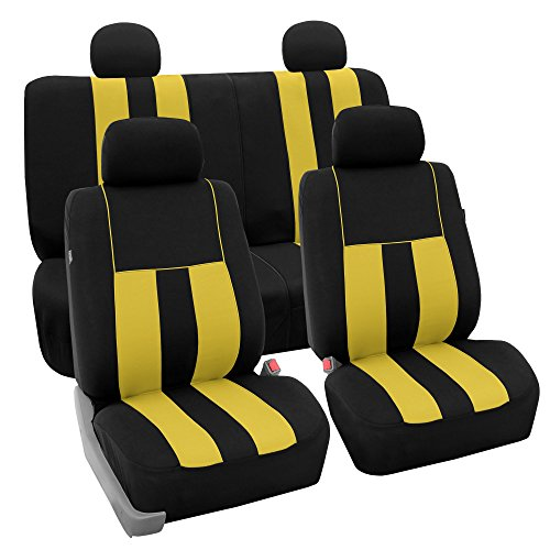 FH Group Striking Striped Full Set Car Seat Covers (Airbag & Split Ready) w. Free Gift Yellow/Black Color - Fit Most Car, Truck, Suv, or ()