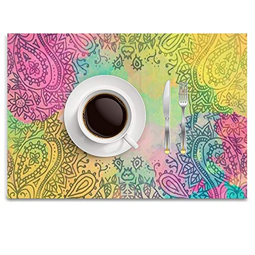 UTRgdfsvxc Place Mats Washable Fabric Placemats for Dining Room Kitchen Table Decor - Paisley Splashes