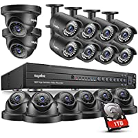 SANNCE 16 CH 1080P HD DVR Surveillance Security System Digital Video Recorder with 1 TB Surveillance Hard Drive and (16) 2.0 Megapixel Outdoor/Indoor CCTV Cameras