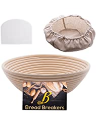 Bread Breakers Premium 10 Round Banneton Proofing Basket Set - French Style Artisan Bread Bakery Basket - 4 Depth - Cloth Liner & Dough Scraper/Cutter Included - For Professional & Home Bakers