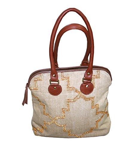 Sac à main femme brodé à la main à la main en or Zari Ladies Tote Shoulder Bags