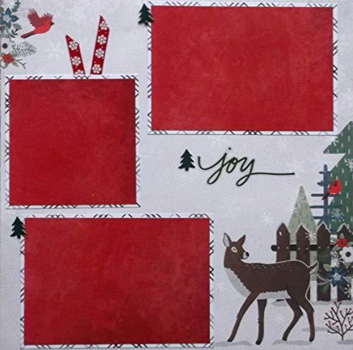 Christmas Joy Animal Scene Handmade Scrapbook Page ()